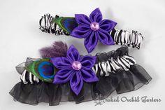 Purple Kanzashi Garter, Retro Glam Garter, Peacock Garter, Royal Purple Garters, Zebra Animal Print Garter, Wedding Garter Set, Rocker Bride, $35.00