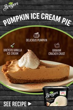 Frozen Desserts, Just Desserts, Delicious Desserts, Dessert Recipes, Pie Dessert, Baking Recipes, Pumpkin Pie Recipes, Fall Recipes, Sweet Recipes