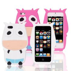 Lovely 3D Dairy Cow Silicone Soft Case Cover for iPhone 5