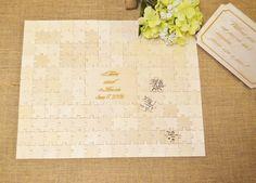 CUSTOM Wooden Wedding Guestbook Engraved Puzzle- Alternative Book- Personalized- Wedding Puzzle (P3D142)(Etsy のWeddingCraftShopより) https://www.etsy.com/jp/listing/209139668/custom-wooden-wedding-guestbook-engraved