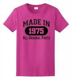 40th Birthday Gift Made 1975 Original Distressed Ladies T-Shirt Large Heliconia