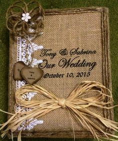 Rustic wedding photo album, picture book, wedding book, album, burlap and lace, burlap photo album, 4 x 6, by BurlapCreationsNC on Etsy