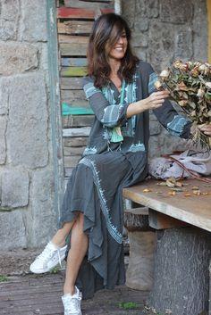 Morocco Fashion, Ethnic Fashion, Kimono Fashion, Boho Fashion, Girl Fashion, Fashion Outfits, Ibiza Dress, Moda Hippie, Boho Girl