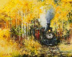 'The Woodland Express' by Gleb Goloubetski Oil on Canvas 80cm x 100cm