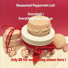 Peppermint Candy Bath Bomb Discount Lot Peppermint Candy Bath Bomb Discount Lot. I have an overstock of these peppermint bath bomb products. $8 takes all shown in the picture triple heart bath bomb stacked set, round bath bomb, and a double stacked bath bomb. All of this for $8. I have a business and I keep stock moving to maintain quality and freshness. I make everything in small batches so there are almost always leftovers. Keep checking for my discount listings. I will have at least one…