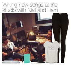 """""""Writing new songs at the studio with Niall and Liam"""" by vane-abreu ❤ liked on Polyvore featuring Topshop, NIKE, Zara and Harrods"""