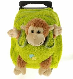Kids Green Rolling Backpack With Monkey Stuffie -Affordable Gift for your Little One! Item #DKKI-8095G by Kreative Kids, Inc, http://www.amazon.com/dp/B003UNMVOC/ref=cm_sw_r_pi_dp_OxKFpb1D0ZGFY