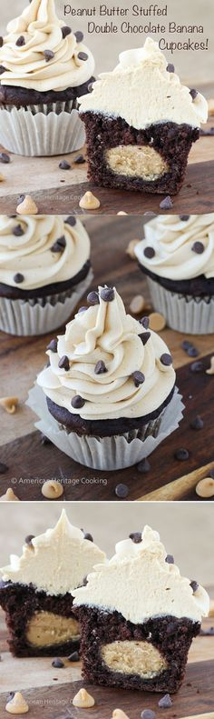 Peanut Butter Stuffed Double Chocolate Banana Cupcakes Peanut Butter Frosting | If you love peanut butter and chocolate then you with LOVE these cupcakes!!! It's like the inside of a Reese's cup in the middle. #recipe #cupcake #doublechocolate