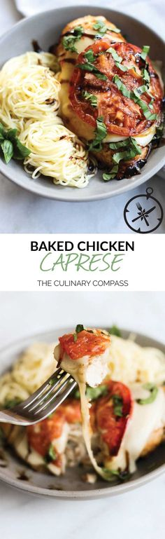 This Baked Chicken Caprese is full of bright summery flavors and is so easy to throw together! via @culinarycompass