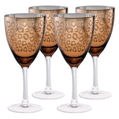 Artland Inc. Leopard Gold Wine Glasses - Set of 4 - Add some playful style to your barware collection with the Artland Inc. Leopard Gold Wine Glass...