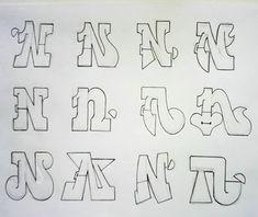 Graffiti Letter N, Graffiti Lettering Alphabet, Graffiti Text, Graffiti Words, Graffiti Writing, Graffiti Styles, Cartoon Graffiti, Calligraphy Alphabet, Islamic Calligraphy