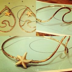 One of a kind handcrafted gold filled Star of the Sea bangle and earring set available in gold filled or silver.