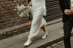 A Super Stylish Minimony in Dublin City | OneFabDay.com Bridal Shoes, Wedding Shoes, Wedding Lunch, River Island Dresses, Dublin City, Crisp White Shirt, White Boots, Velvet Jacket, Best Photographers