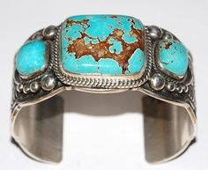 Sterling silver bracelet set with Nevada Royal Blue turquoise cuff by Guy Hoskie, Navajo