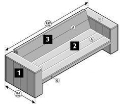 Tutorial for homemade garden furniture step assembly of the backrests for a wooden bench and lounge chairs homemade of recycled scaffolding planks. Pallet Patio Furniture, Lounge Furniture, Garden Furniture, Wood Furniture, Lounge Sofa, Scaffolding Wood, Homemade Furniture, Garden Sofa, Wood Plans