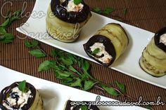 Foto: Já pensou nessas delicias de Rolinhos de Berinjela com Ricota e Tomate Seco para o #lanche?... huummm  #Receita aqui: http://www.gulosoesaudavel.com.br/2011/12/06/rolinhos-berinjela-ricota-tomate-seco/