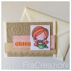 Pesciolina, che poi in realtà è una sirenetta...  La card è per la bimba di una collega, di nome Giada, nata a febbraio scorso :)  Il timbro digitale della sirena è colorato con i pastelli...   #auguri #biglietti #bimba #card #colorazione #nascita #pastelli #rosa #sirenetta #timbri #scrapbooking Cardio, Coasters, Pink, Mermaid, Coaster