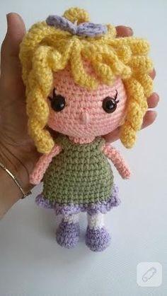 Sarı saçlı amigurumi örgü oyuncak bebek yapılışı - 10marifet.org