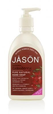 Jason Cranberry Canneberge Satin Soap for Hands and Face, 16 Ounce by Jason Natural Cosmetics. $9.99. Mild, coconut-derived surfactants gently cleanse hands and face without drying skin out. Allantoin, organic aloe vera gel and sage extract help skin to absorb and retain moisture for soft, beautiful skin. Pump satin soap into hands; Wash hands or face as usual; Rinse thoroughly; Increase the antioxidant benefits of Cranberry Oil by following with Jason Cranberry Hand and Body Lot...