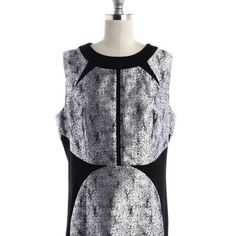 NWT black cracked shiny silver dress sleeveless NWT - concealed zipper, no sleeves, shiny black cracked dress. U.K. Size 16. = USA size 12 ,  hand wash . Bust  38 inch. Waist 34 inch hips 42 inch, length 35 inch Oasis Dresses Midi