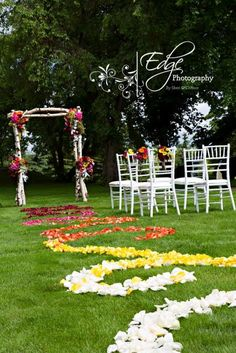 A Wylie Wedding. Wedding Planners for Alberta Brides. Elegant yet rustic outdoor setting.  Chavari chairs, DIY birch Arbor made by AWW Planners. Flowers by Travis of Calyx Floral Design