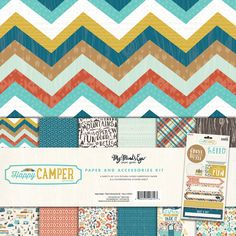 Happy Camper is a paper collection from My Mind's Eye debuting January 2016. It has a fun travel and camping theme with a retro twist in saturated greens and blues.