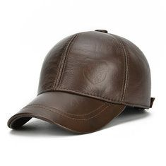 1c33de977c6 High-quality Men PU Leather Vintage Baseball Cap Casual Outdoor Windproof  Warm Hats Adjustable Sports