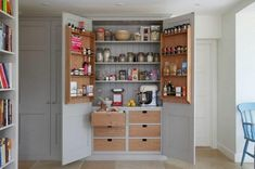 large kitchen pantry cabinet Kitchen Pantry Design, Kitchen Pantry Cabinets, Kitchen Decor, Decorating Kitchen, Pantry Shelving, Liquor Cabinet, Locker Storage, Modern, Furniture
