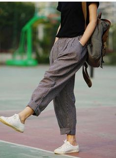 Trousers For Women 2016 Spring & Summer Women's Linen Pants Loose Trousers Female Harem Pants Striped Trousers 2 Colors - Fashion Style Linen Pants Women, Trousers Women, Pants For Women, Clothes For Women, Harem Trousers, Linen Trousers, Printed Trousers, Harem Pants Outfit, Jeans Pants