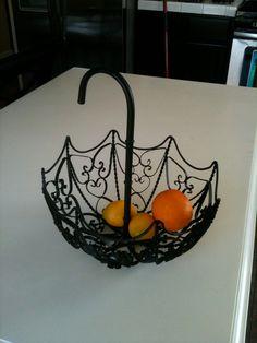 Wrought Iron Umbrella Fruit Basket 60 00 Usd Via Etsy