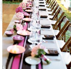 table decor - pink and brown