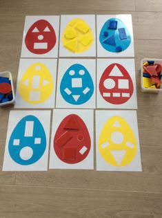 Klassikaal met geometrische vormen. Paaseitjes als eenvoudige inlegpuzzel. *liestr* Kids Learning Activities, Easter Activities, Color Activities, Infant Activities, Spring Art Projects, Easter Projects, Easter Crafts, Toddler Preschool, Preschool Crafts