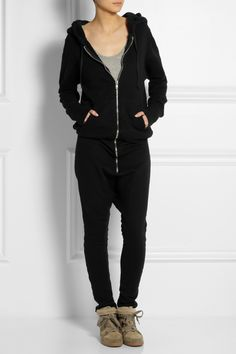 Love the loose, slouchy fit of this hooded cotton-fleece jumpsuit by OAK