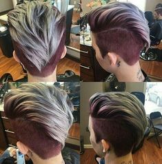 360 Pixie Haircut View - Shaved Short Hairstyle for Thick Hair - Hair Tutorials Short Hairstyles For Thick Hair, Short Haircuts, Pretty Hairstyles, Short Hair Styles, Hairstyles 2018, Short Hair With Undercut, Mohawk Hairstyles For Women, Faux Hawk Hairstyles, Oval Face Hairstyles