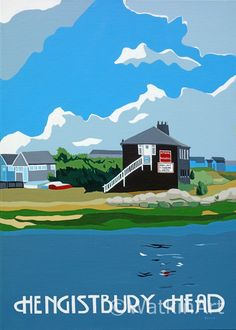 Hengistbury Head with Beach Huts and Black House. Original painting and prints by Richard Watkin. www.watkinart.co.uk