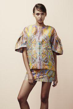 ROOPA PEMMARAJU Ngalyipi Flared Sleeve Coat & Kurrkara Mini Skirt -Artist: Judy Napangardi Watson