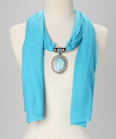 Take a look at this Blue Circle Pendant Scarf by Suvelle on #zulily today!