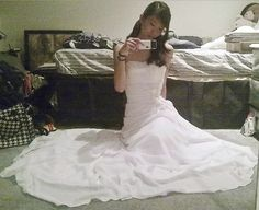 Here's a cute selfie taken by our bride Van Mai Vu in California. She loved the wedding gown so much she modified the skirt later so she could keep wearing the dress as a sun dress! She chose dress style 05909 - you can request it from us and it cost $164. See all of our wedding gowns here: http://www.outerinner.com/wedding-gowns-cg-13.html #OuterInner #WeddingGowns