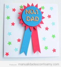 Manualidades niños, tutorial roseta goma eva para regalar en Día del Padre