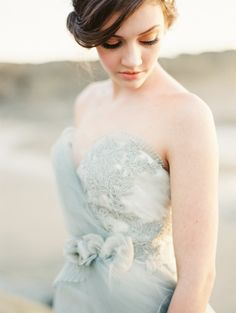 Enchanting Gray Wedding Dress for a Seaside Shoot.  Love this color for bridesmaids dresses.