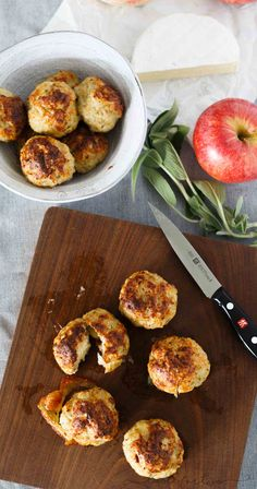 These stuffed cheesy chicken apple and sage meatballs are the perfect cheesy appetizer with a surprise center! A giant bite will equal a big surprise!