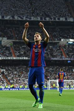 Ivan Rakitic of Barcelona celebrates as he scores their second goal during the La Liga match between Real Madrid CF and FC Barcelona at Estadio Bernabeu on April 23, 2017 in Madrid, Spain.