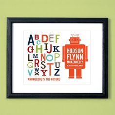 Robot alphabet poster...personalized and cool for a nursery
