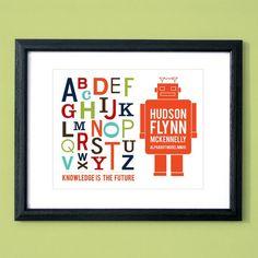 Robot alphabet...so cute for a kids room