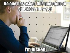 No one has asked this question on Stack Overflow yet I'm fucked Programmer