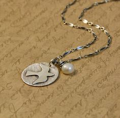 Sterling Silver Hammered Rustic Soldered Dove Disk by bytwilight, $55.00