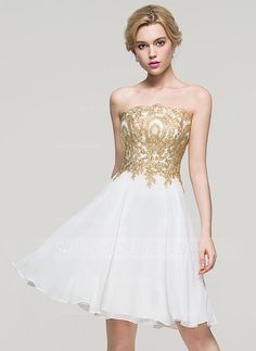 A-Line/Princess Strapless Knee-Length Zipper Up Lace Up Strapless Sleeveless No Ivory Spring Summer Fall General Plus Chiffon Homecoming Dress