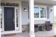 Front Door Colors With Gray Siding White Trim Exterior Paint 34 Super Ideas Grey Siding House, Exterior House Siding, Exterior House Colors, Gray Siding, White Siding, Light Blue Houses, Grey Houses, Grey Front Doors, Front Door Colors