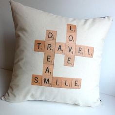 Custom Scrabble Pillow by Design Lab 443. Can be customized with your choice of words!   Hatch.co