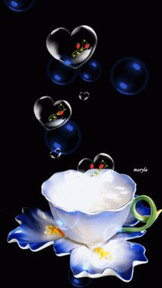 Blessing Bubbles with a cup of tea for you from me ¥! Have a Happy Weekend! Morning Love, Good Morning Coffee, Good Morning Friends, Good Morning Good Night, Beautiful Gif, Beautiful Pictures, Corazones Gif, Beau Gif, Animated Heart